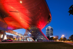BMW World and BMW Museum at night - Copyright Thomas Effinger, architecture photographer, Munich