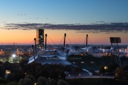 Olympic Park Munich, Olympic Stadiun, O2 Tower at sunset | 6511 | © Effinger